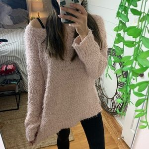 Fuzzy Pink Off-The-Shoulder Sweater Tunic Rhapsody